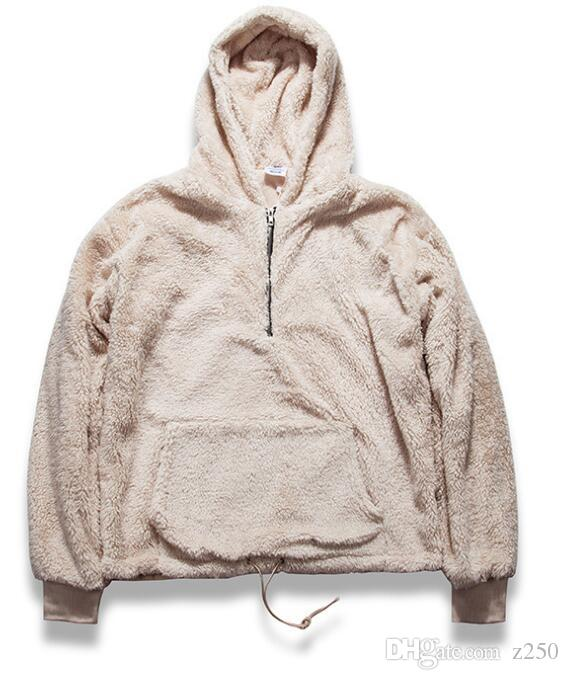 Mens Half Zipper Sweater Pullover Sherpa Hoodie Kanye West Streetwear Woolen Fleece Coat Luxury Warm GWW19