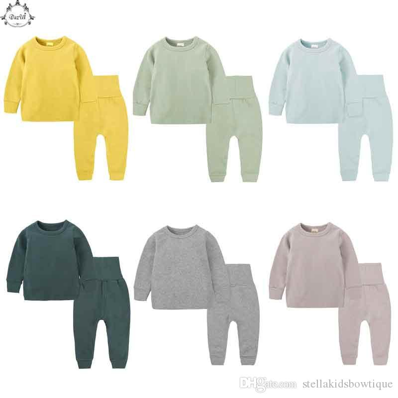 8f97a8e76053 Korea Children Pajamas Set Long Sleeve Top Pants Sleepwear Suit Plain Children  Clothes At Home Boy Kids Clothes Pajamas Kid Baby Pjs From  Stellakidsbowtique ...