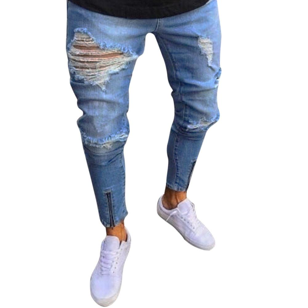 1670ed5e7 2019 Sunfree Jeans Pants Men Jeans Para Hombre Ripped Jeans Men Hot Selling  Men Pants Business New Trend Slim 3L55 From Clothesg519