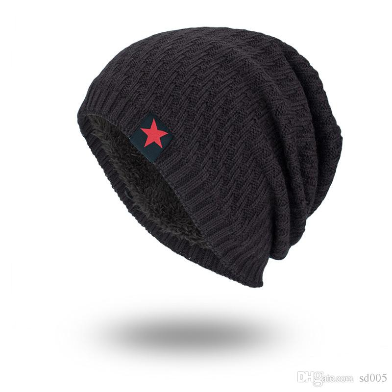 e62ef8cff2c Men Fashion Hat Thickening Knitted Wool Autumn Winter Warm Beanies Red Five  Star Pointed Cap Cotton Hip Hop 10zm Hh Red Beanie Hats For Sale From  Sd005