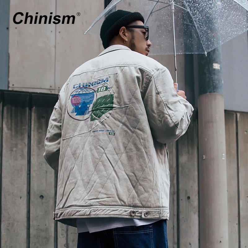 more photos 82651 9a752 CHINISM Zurück bedruckte gewaschene Jeansjacke 2018 Winter Herren verdicken  warmen Hip Hop Trendy Hemd Jeansjacke