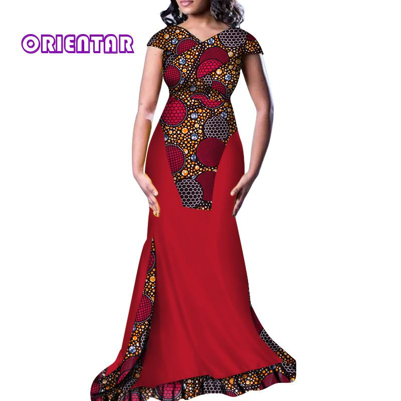 2b11c275cba0 2019 Elegant Africa Dresses Women V Neck Long Party Dress African ...