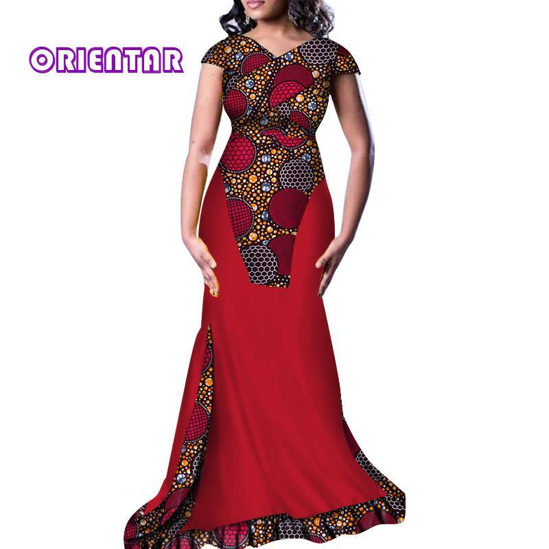Con Elegantes Maxi De Vestidos Privado África Vestido V Largo Mujeres Estampado Noche Africano Algodón En Fiesta Cuello 8NOX0Pknw