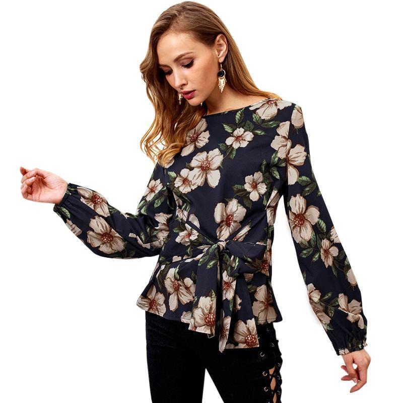a4e820ab0c Compre Blusa De Las Mujeres Con Estampado Floral Atado Arco Delantero O  Cuello Mangas Largas Blusas Mujer De Moda 2019 Elegante Casual Tops Camisas  Blusa ...