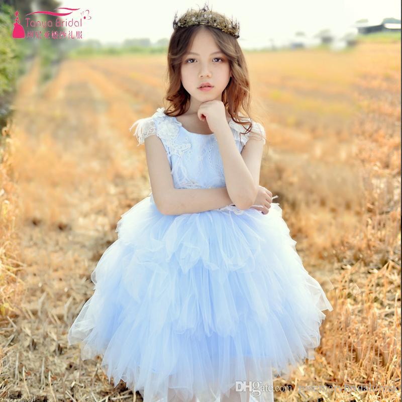 e54094952 Light Sky Blue Flower Girl s Dress For Wedding Fairy Girls Pageant ...