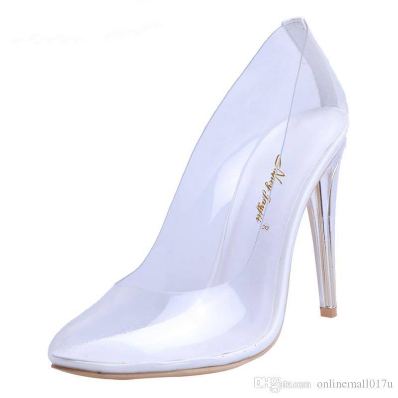 b7f9cac063f54 Compre Kim Kardashian Zapatos Transparentes Mujer Bombas Otoño Plata  Tacones Claros Alta 10CM Vestido De Boda De Cristal De La Cenicienta A   80.41 Del ...