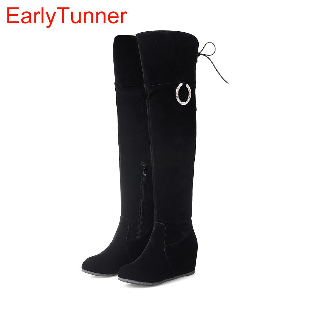 9bb78e07166 Brand New Sweet Winter Women Thigh High Boots Black Beige Pink Lady Over  The Knee Nude Shoe Wedge Heel ET56s Plus Big Size 43 10 Combat Boots For  Women Sexy ...