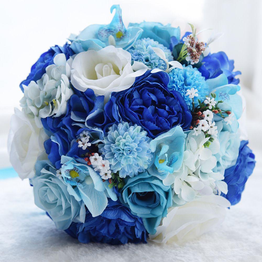 Yapay Plaj Düğün Çiçek Buketi Mavi Güller Gelin Gelin Broş Buket Düğün Buket De Mariage Rhinestone Kolu Ramos De Novia