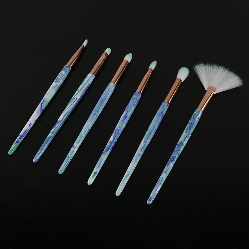 6 Adet / takım Ebru Kolu Makyaj Fırçalar Set Profesyonel Göz Makyaj Fırça göz farı Eyeliner Kaş Dudak Göz Pudra fondöten Fırçası