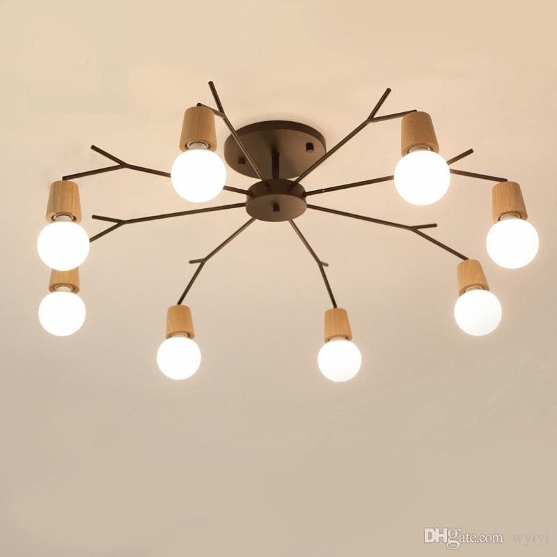 Wood LED Ceiling Lights Living Room Bedroom Children\'S Room Ceiling ...
