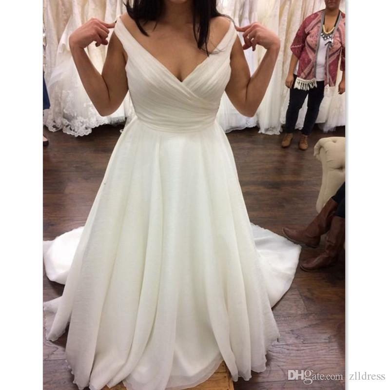 a71455b17ef Discount 2018 Simple Cheap Plus Size Wedding Dresses A Line Off The  Shoulder Organza V Neck Maxi Big Woman Bridal Gowns Cheap Custom Made Wedding  Dress On ...
