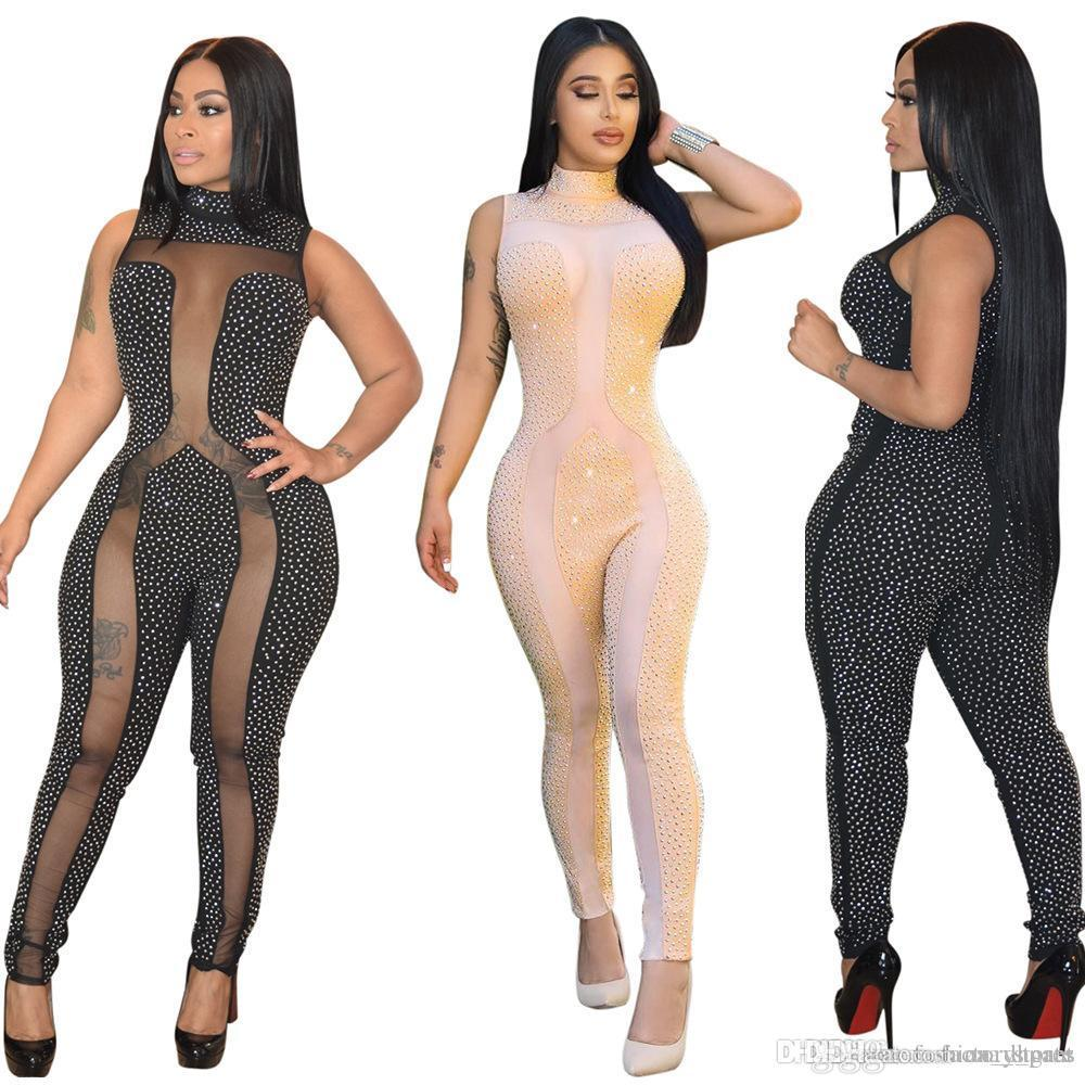 01f0b74de5 2019 Package Hip Rhinestone Jumpsuit Women Summer Sleeveless Sheer Mesh  Patchwork Club Bodycon Jumpsuit Long Pants Romper Party Bodysuits Catsuit  From ...