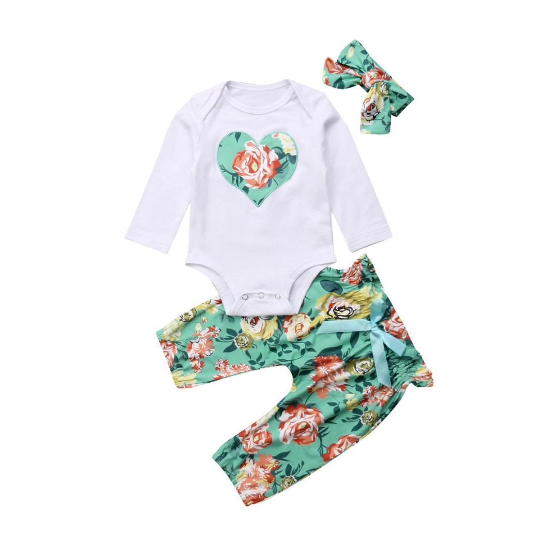 8c79f00c2 Compre 2018 Recién Nacido Bebé Niña Niño Corazón Manga Larga Mono Mono Ropa  Floral Pantalones Verdes Otoño Conjunto Traje A  45.51 Del Newestable