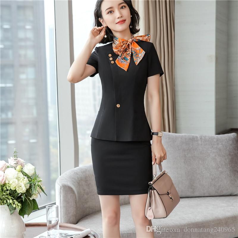 e6c7b26ce5107 2019 Women Set Office Jacket Pant  Skirt Suit Plus Size S To 4XL 2018 New  Summer Slim Short Sleeve Lady Tops + Pants  Skirts From Donnatang240965