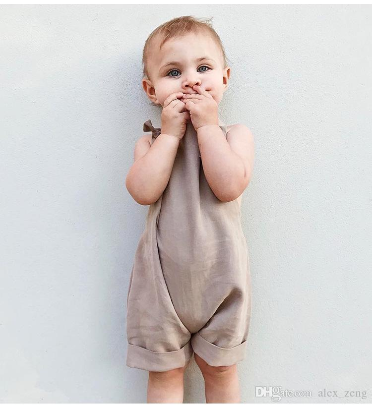 2018 New Summer Baby Boys Girls Suspender Sleeveless Cotton Overalls Jumpsuits Cotton Newborn Baby Khaki Bodysuits