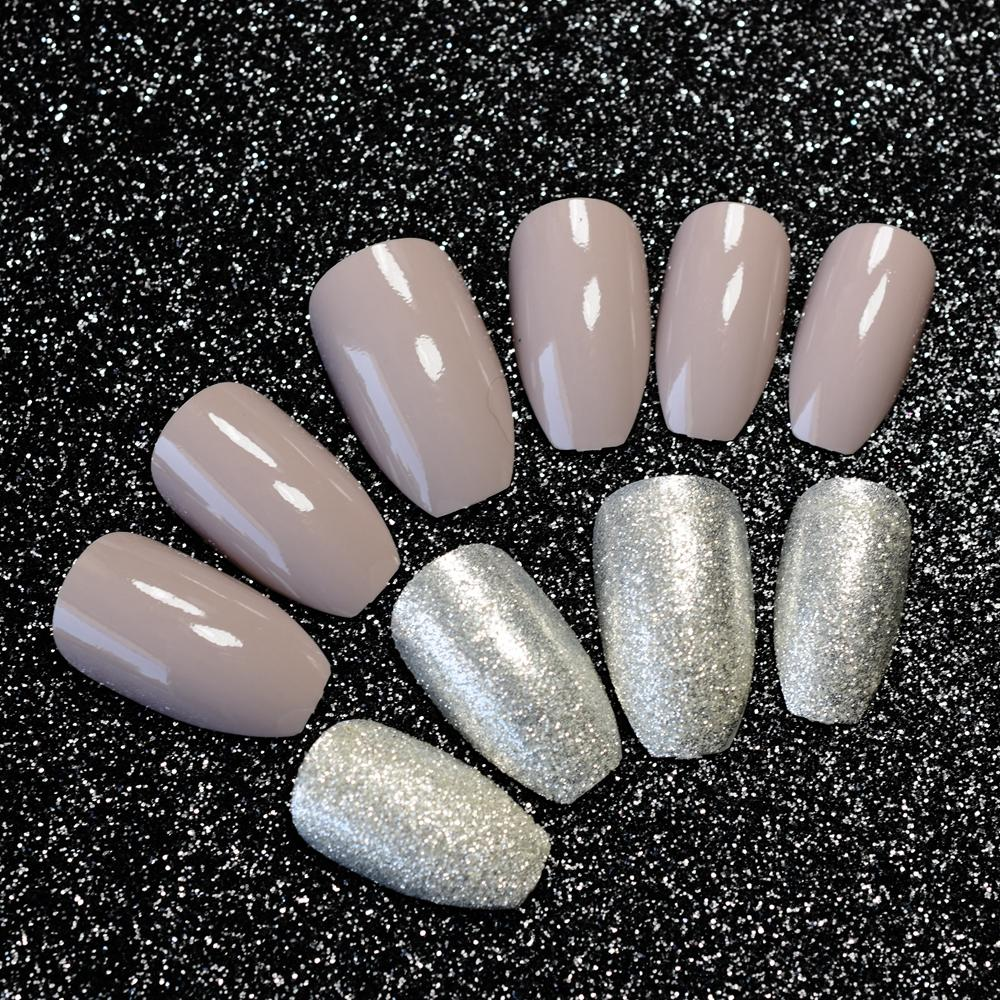 Kit Uv Glitter Artificial Fake Nails Flat Top Coffin Design Long Pre ...