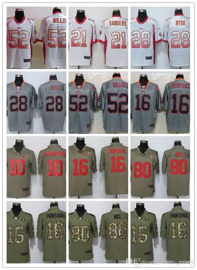 178b42247 2018 49er Jersey Men  10 Jimmy Garoppolo 25 Richard Sherman 16 Joe Montana  80 Jerry Rice 53 NaVorro Bowman 28 HYDE Women Youth Kids Jerseys From ...