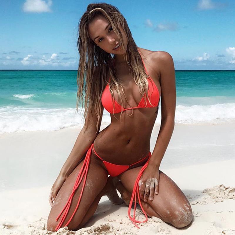 cf6e8cf74 2019 Sexy Bikini 2018 Solid Swimsuit For Women Simple Bikini Push Up Cross  Strap Beach Swimwear Backless Low Waist Bathing Suit Women From Aimea, ...