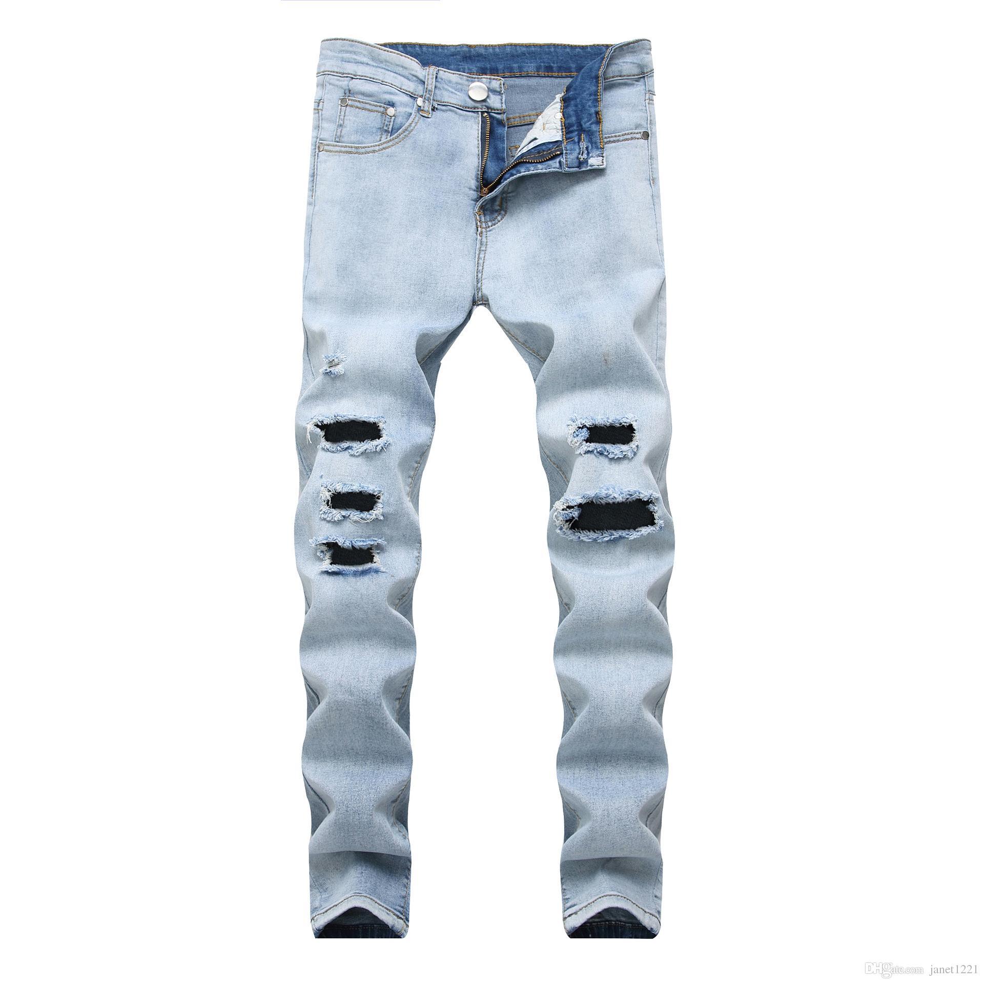 0b0ff4116 Sky Blue Ripped Jeans Hombres Otoño Marca Hip Hop Para Hombre Skinny Jeans  Homme Slim Fit Biker Jeans Pantalones J180719