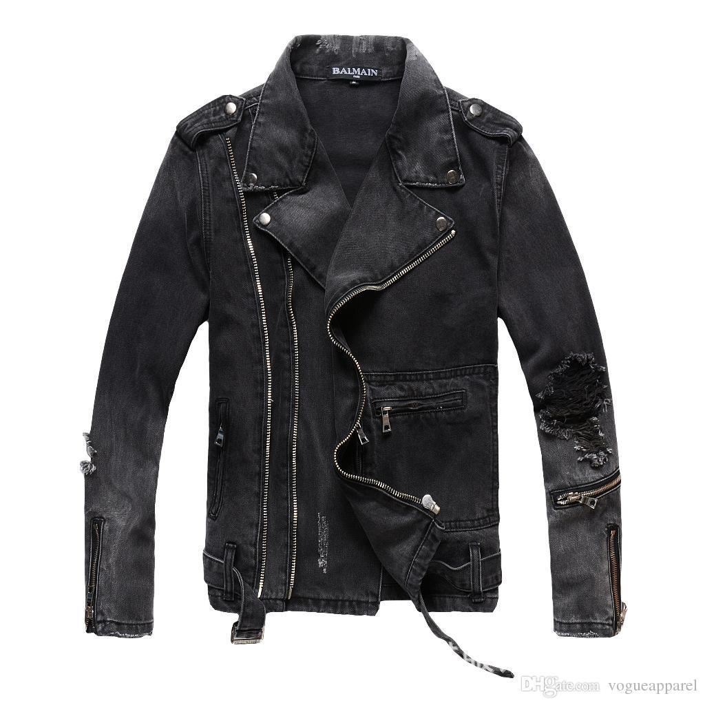 1508d70c03ae Mens Vintage Zipper Biker Jeans Black Denim Frayed Cool Jackets ...