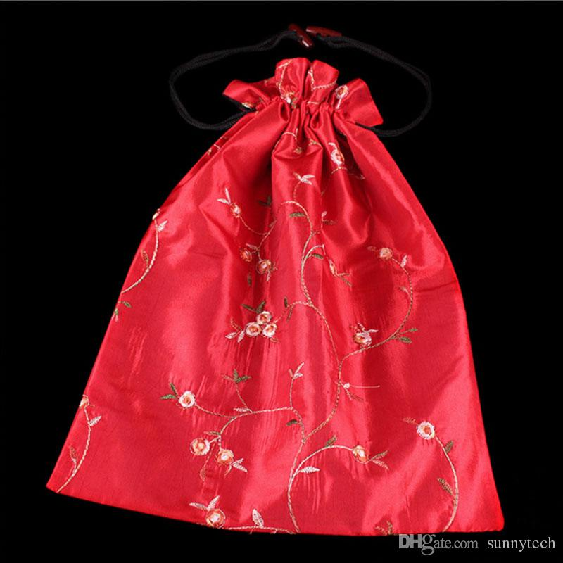 27*37cm Chinese Handmade Embroiderd Floral Silk Shoe Bags Portable Drawstring Travel Storage Bags Pouch Free Shipping ZA5726