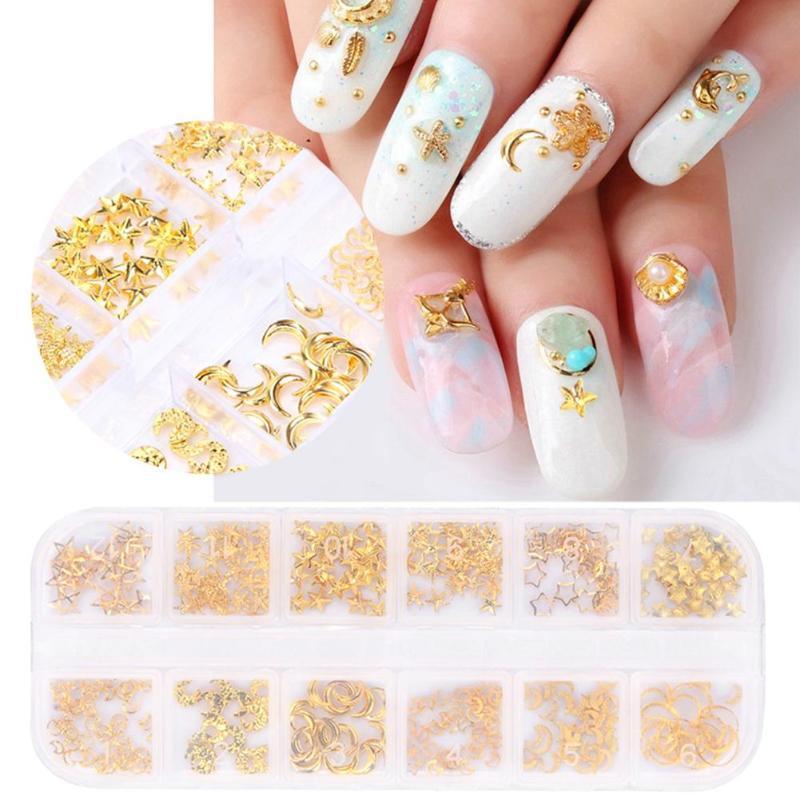 ca2fa551287a3 12 Grid Nail Art Gold Metal Alloy Moon Star Mixed Style DIY Rivet Studs For  Nail Art Rhinestone Tools Nails Accessoires Foil Nail Art Nail Decorations  From ...