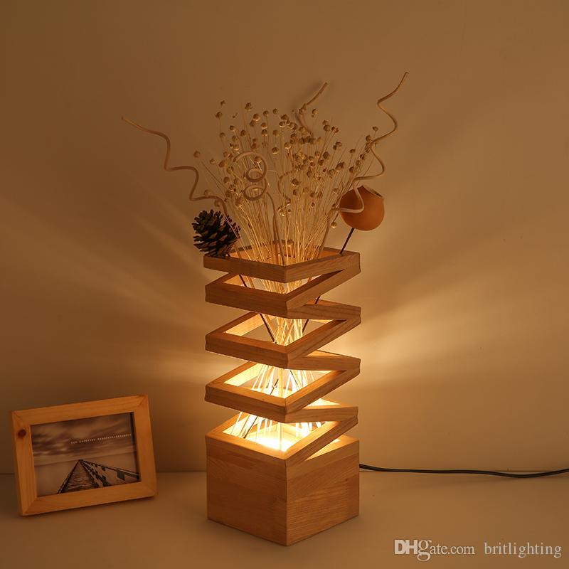 2018 Simple Led Desk Lights Log Flower Table Lamp Romantic Bedroom Bedside Living Room Study Decorative Modern From