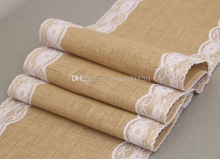 A Wedding Christmas High Quality Burlap Lace Linen Table Cloth Table Runner