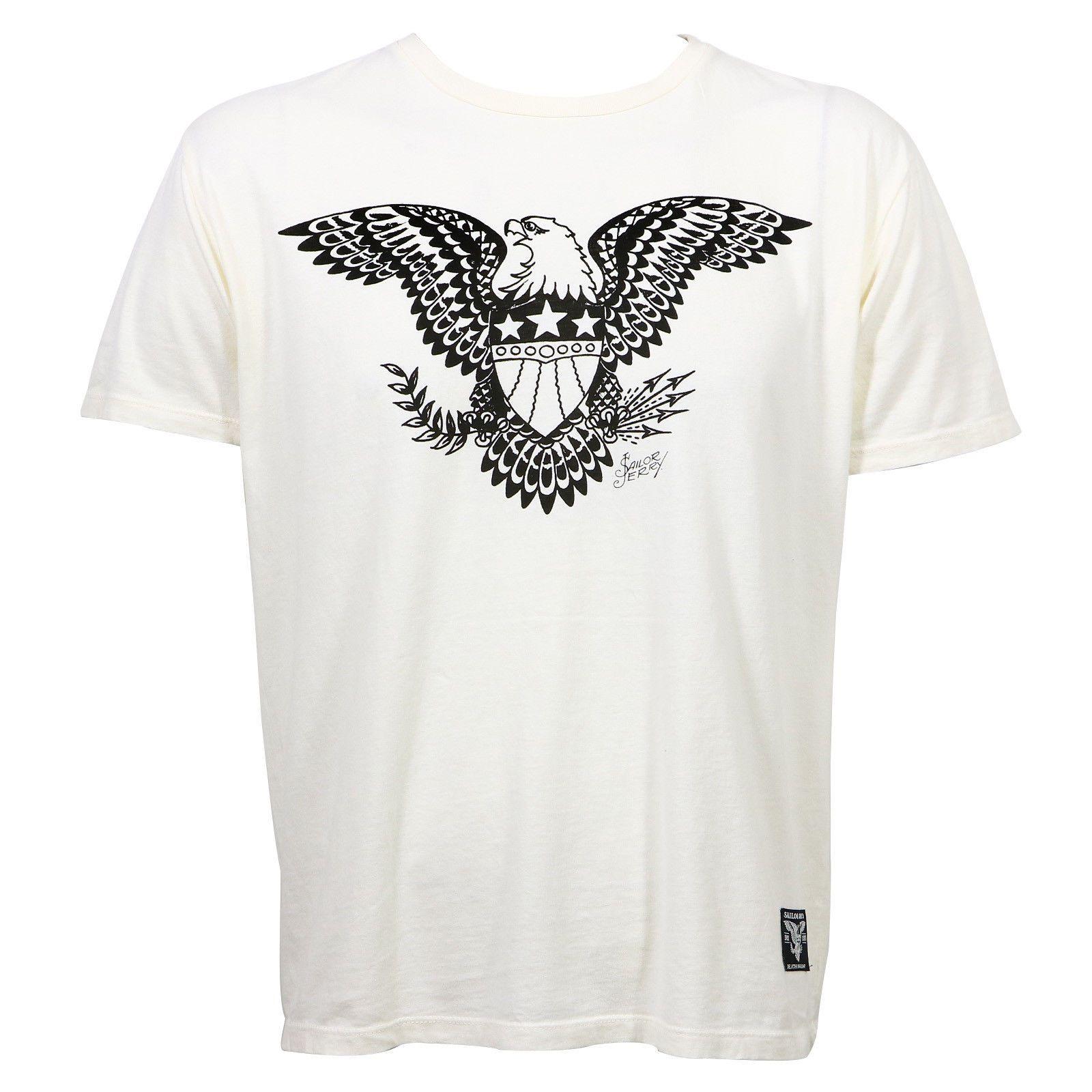 ca29893dd Sailor Jerry Tattoo Bars Stars & Eagle Slim Fit T Shirt White S 2Xl New T  Shirt Men Digital Direct Printing White Short Sleeve With T Shirt T Shirts  ...