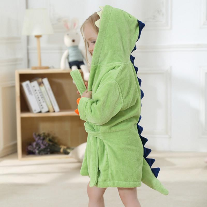 5d4c6936cad7 2018 Fashion Baby Girls Bathrobes Green Dinosaur Robe Cartoon Towel Kid  Spring Autumn Bathing Suits Animal Hooded Nightgown Y18102908 Kids Satin  Pajamas ...
