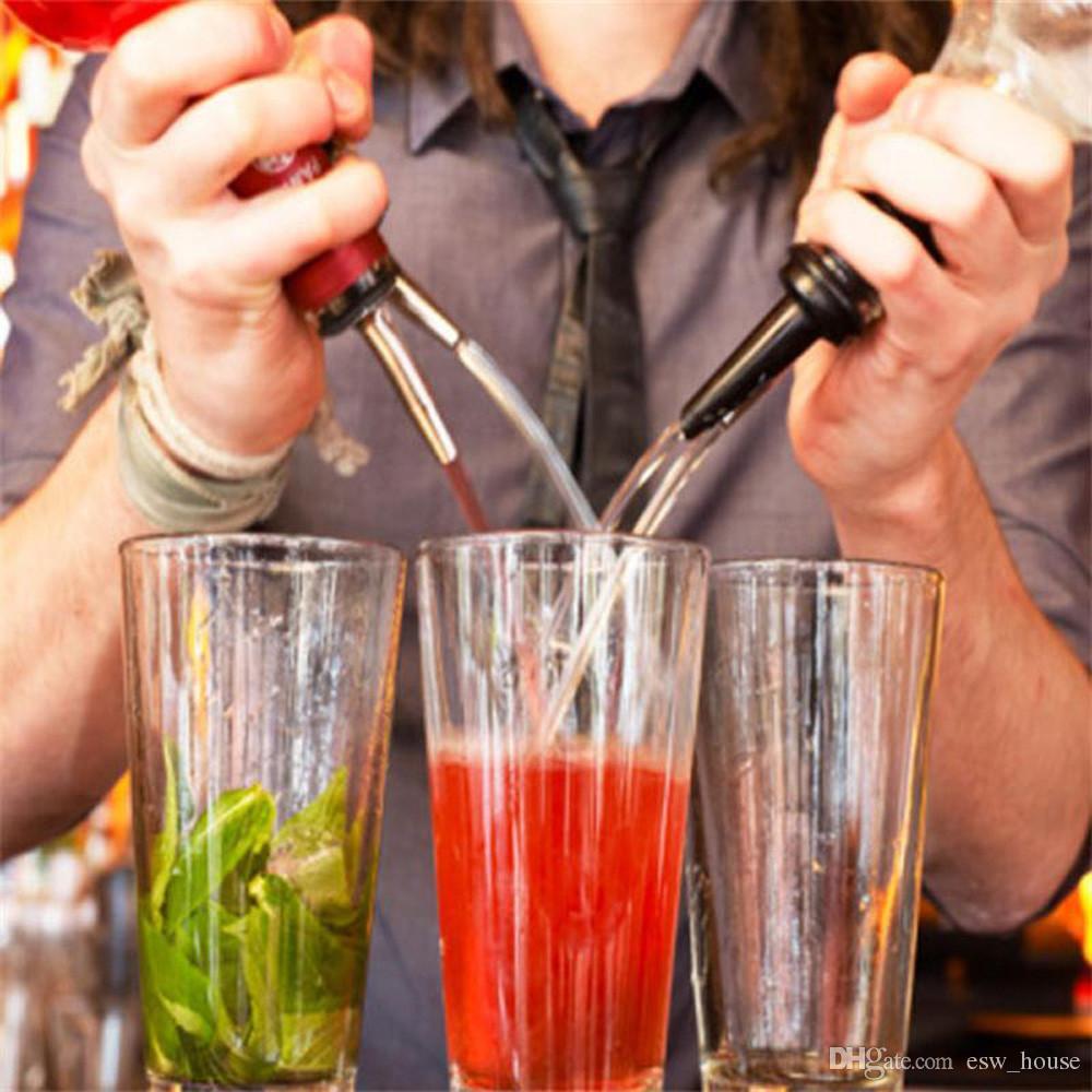 Paslanmaz Çelik Likör Ruh Pourers Akış Şarap Şişesi Bacalı Stopper Dökün Barware Noel Partisi kaynağı 100 adet / grup Ücretsiz kargo