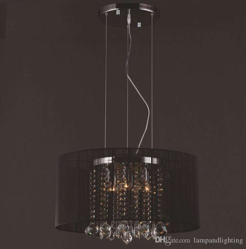 Moderner romantischer weißer silberner schwarzer Gewebeschattenanhänger beleuchtet K9 Kristallleuchter lamparas colgantes Luminarias für dinning Schlafzimmer