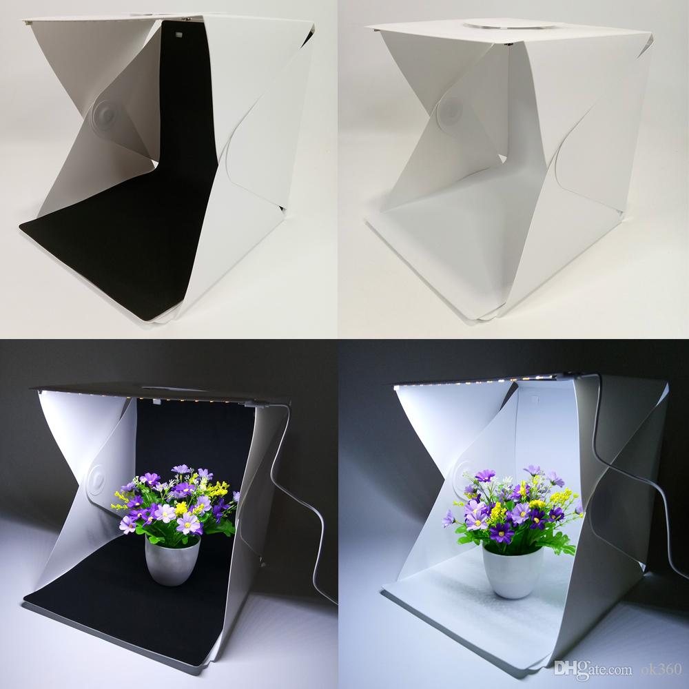 Photo Studio Accessories Fashion Style New Type Mini Folding Studio Diffuse Soft Box With Led Light Black White Background Photo Studio Accessories Photo Studio Box