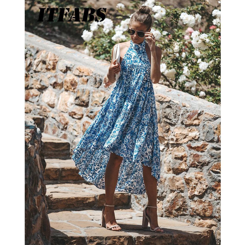 51a31e07592 Women Ladies Summer Dress Halter Floral Beach Sundress Boho Evening Party Long  Maxi Dresses Fashion Online with  40.36 Piece on Fafachai08 s Store