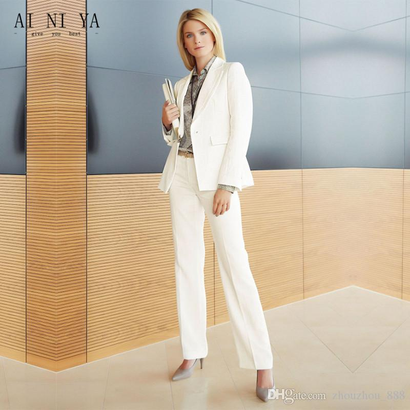 53f120c231a 2019 Ivory Women Pant Suit Slim Fit Uniform Designs Formal Style Office  Lady Business Work Suits Female Trouser Suits Suits From Zhouzhou_888, ...