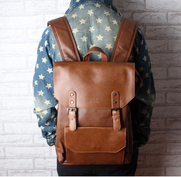 14b9104962f New Men Backpacks Vintage Leather Backpack Big Size Travel Bag Student  Casual Laptop Backpack School Bags For Teenagers Girls Toddler Backpack  Kelty ...