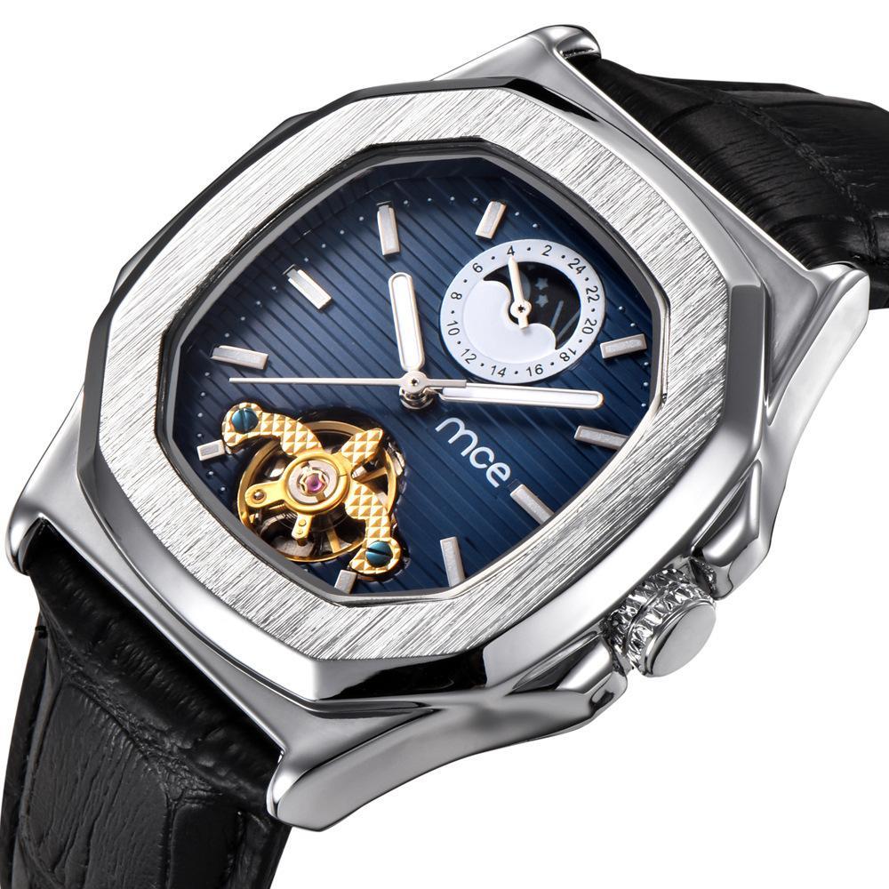 d7e542c9543 Compre MCE Esportes Mens Relógios Top Marca De Luxo De Couro Genuíno  Automático Mecânico Homens Relógio Clássico Masculino Relógios De Alta  Qualidade ...