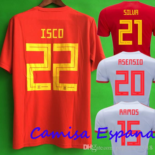 Cheap Thailand Camisetas De Futbol ASENSIO MORATA ESPANA Spain Soccer  Jerseys World Cup 2018 RAMOS INIESTA Football Shirt Camisa Maillot De Foot f2bfcd07bef2f