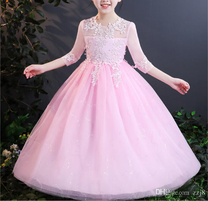 Korean Children Half Sleeve Long Dress for Teen Girls Lace Gauze Flower Princess Wedding Party Dresses