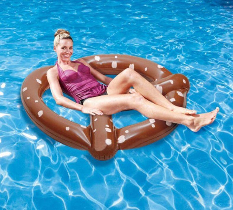 Yaz Yüzme Şişme Yüzen Hayat Şamandıra Yüzer Yatak Donut Ekmek Üç Kişi 150 cm PVC Su Sporları Toptan