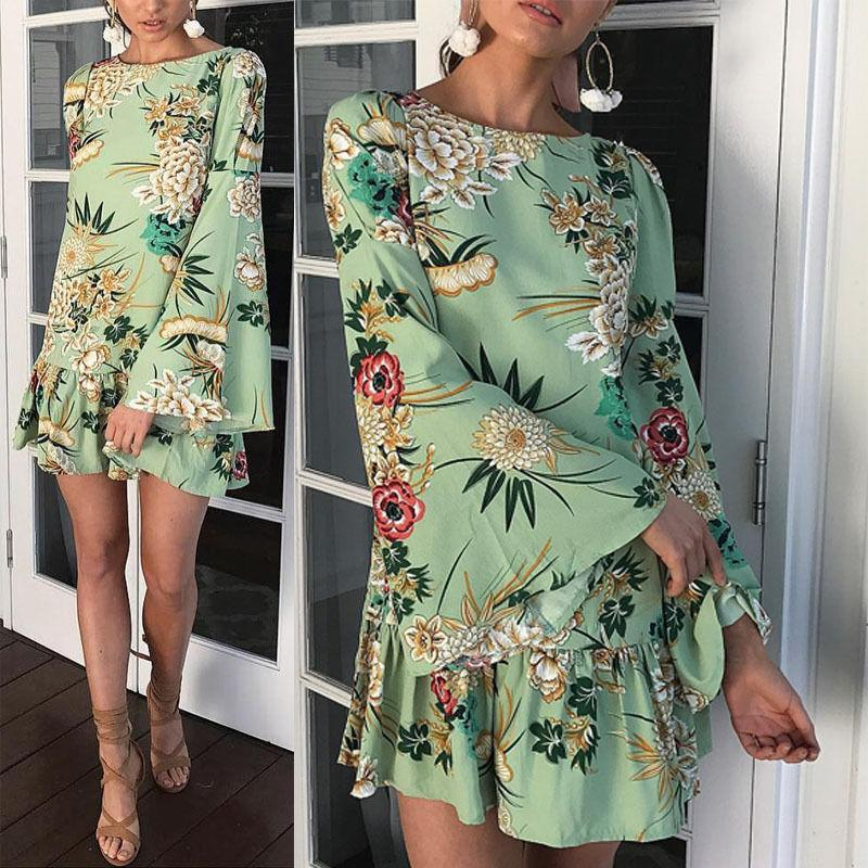 Women Flare Long Sleeve Autumn Loose Short Mini Dress Exotic Party Evening  Round Neck Floral Dresses Party Dress Sleeves Long Black Dress For Sale  From ... aeb885d28372