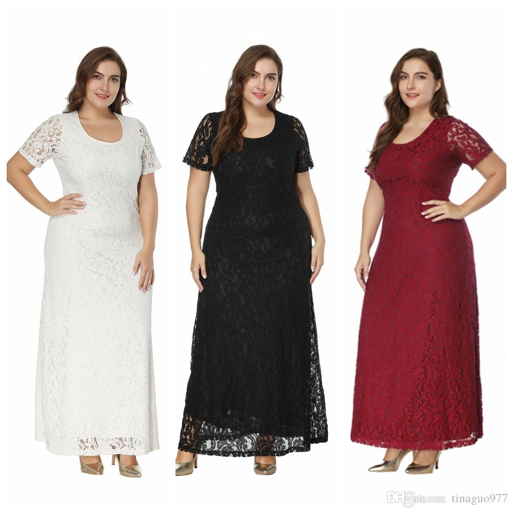 2019 Lace Plus Size Special Occasion Dresses For Women Short Sleeve