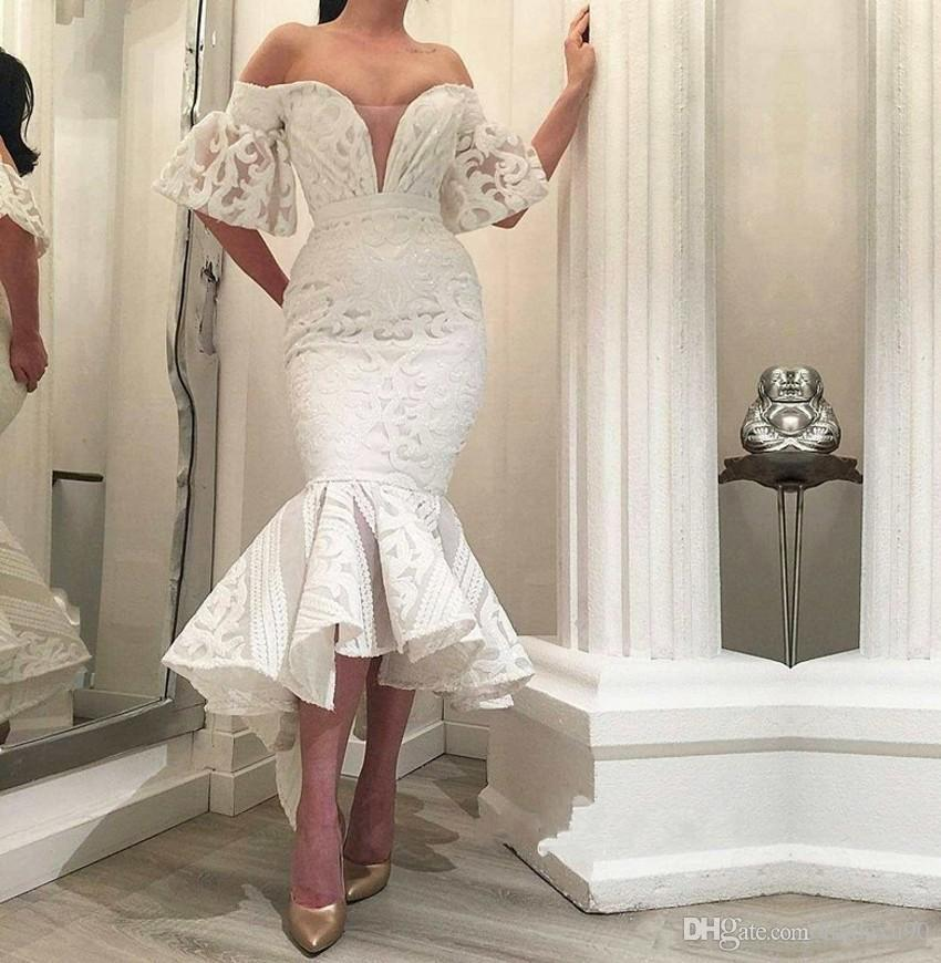 Gorgeous White Lace Wedding Dresses 2019 Mermaid Wedding Dress Off
