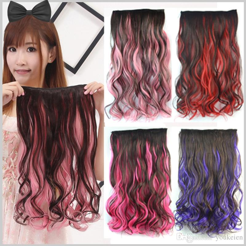 Ful Five Clips On Hair Extensions Two Tone Frosted Hair Pieces One