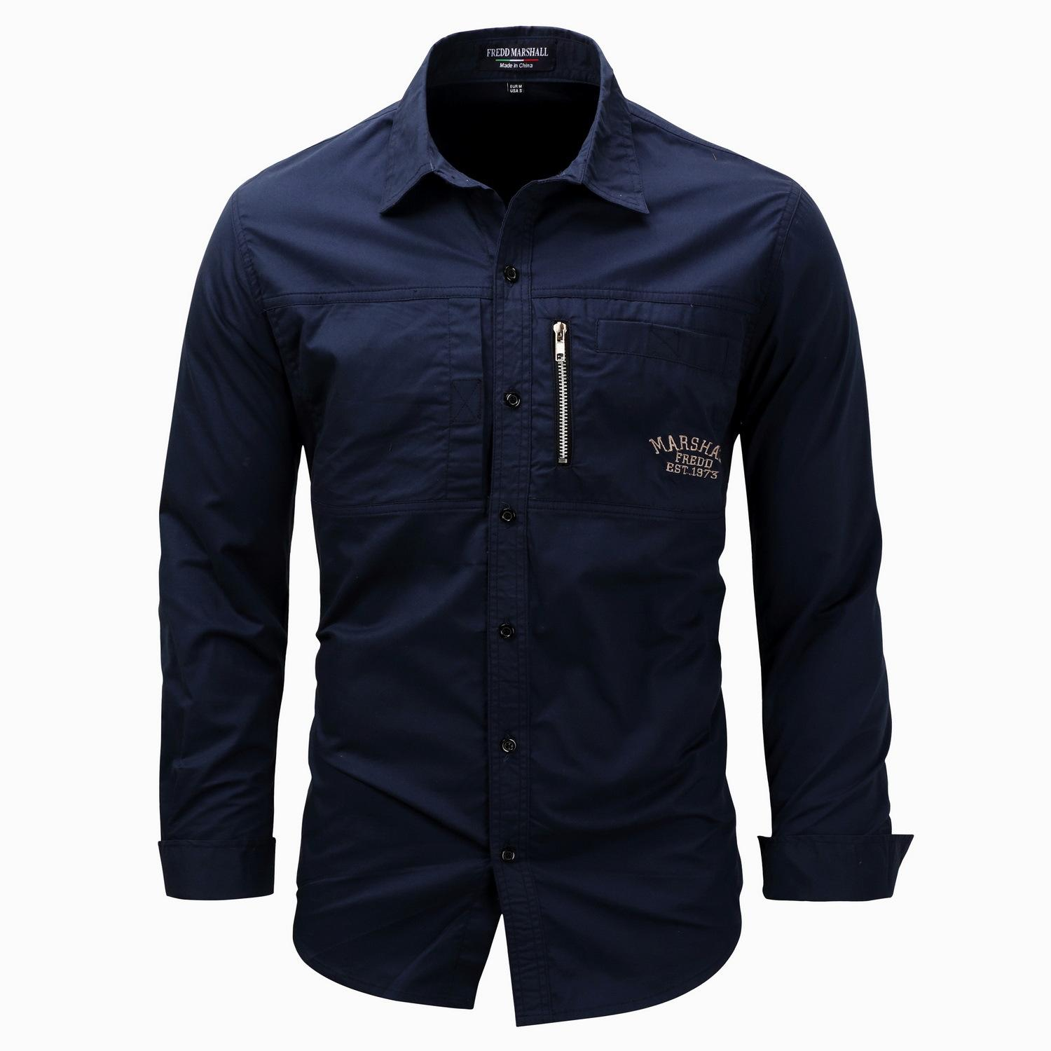 85945f797daab 2019 Wholesale Trend New Zipper And Pocket Decoration Mens 3XLT Shirts  Personalized Letter Embroidered Mens Designer Long Sleeve Shirts From  Szghhcool
