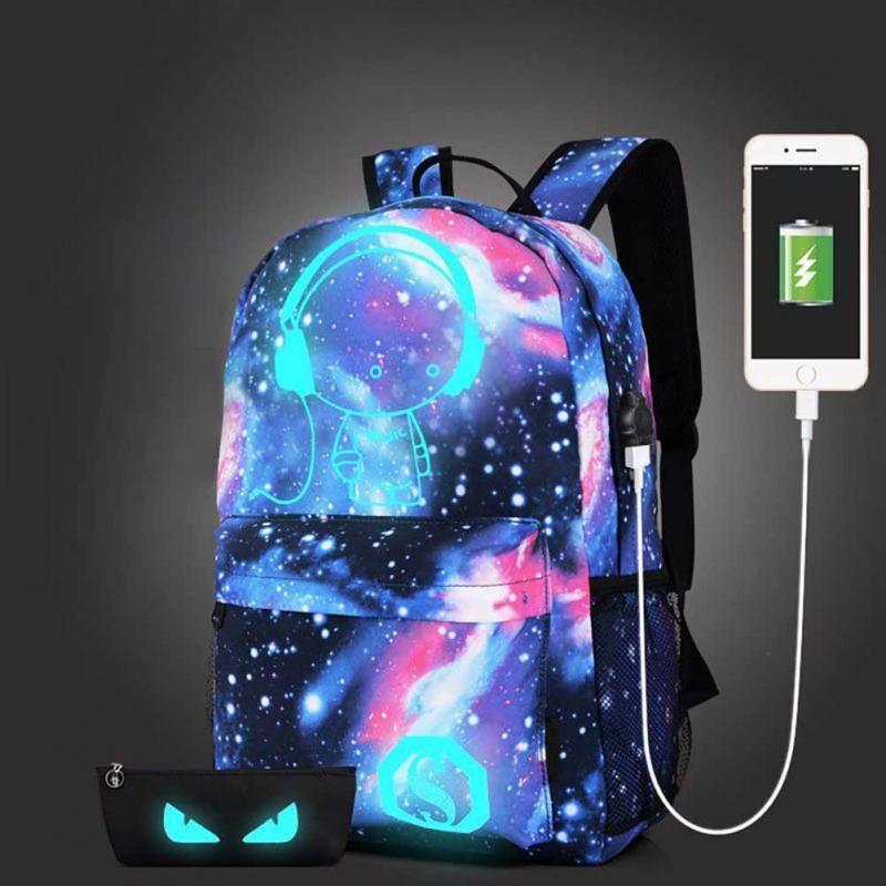 58aea12b0e55 Teen Girls Galaxy School Bag Noctilucent Backpack Collection Canvas USB  Charger Anti Theft Lock Jansport Backpacks School Bags From Keviney