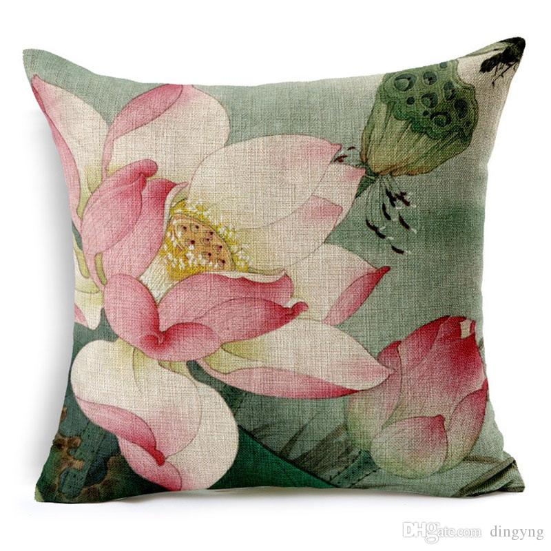 Chinese Painting Lotus Plain Throw Pillow Covers Pillow Case Square Cotton Pillowcases  Cushion Covers Decorative Sofa Car Covers 45*45cm European Pillow ...