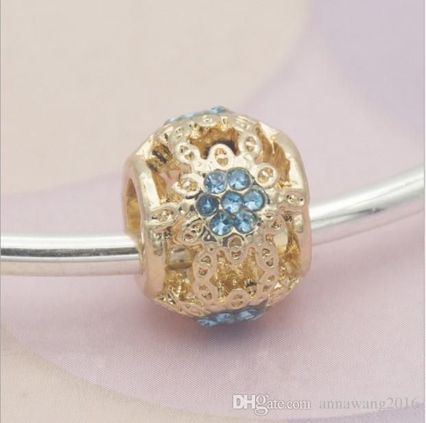Fit Charms bracciale in argento sterling oro Hollow fiocco di neve grande foro blu perline di cristallo misura il fascino europeo Biagi bracciali gioielli fai da te