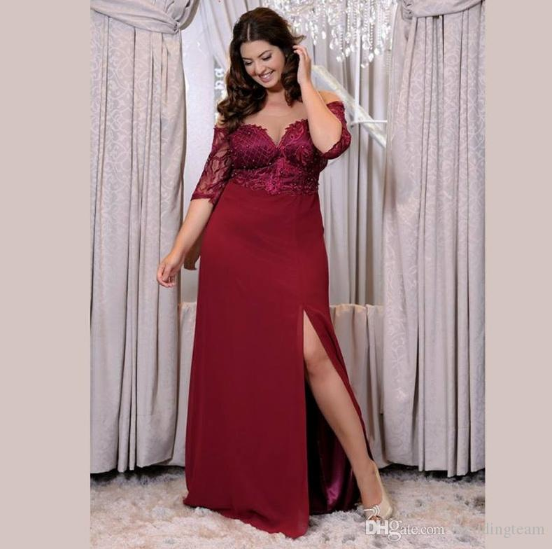 Burgundy Plus Size Side Split Prom Dresses Sheer Off The Shoulder Beaded  Evening Gowns A Line Chiffon Floor Length Lace Formal Dress