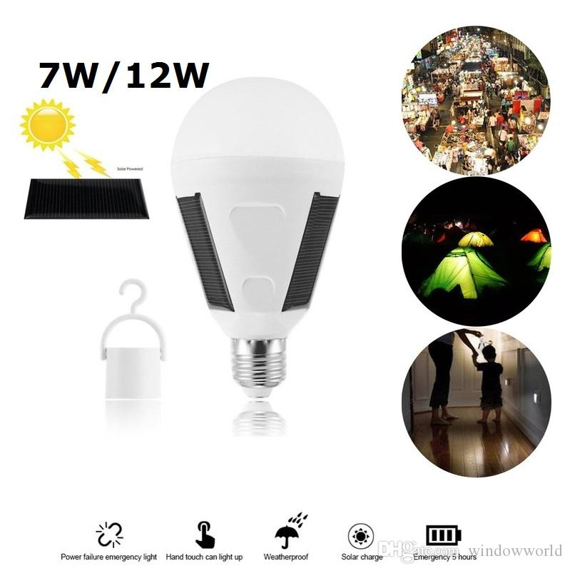 Impermeabile 7W 12W E27 Portable Solar Powered A60 Lampadina a LED Ricaricabile Esterna Emergenza Lampada da giardino Landscape Hanging Night Light